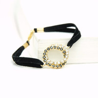 Gold Plated Swarovski Rhinestone Crystal Infinity Bracelet , Black Velvet Cord Bracelet , Mothers Day Gift Idea, Karma infinity jewelry