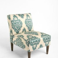Slipper Chair - Turquoise Ikat