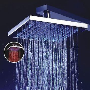 Ouku® 8 Inch Single Functional Temperature Sensitive Rainfall LED Shower Head Chrome Bathroom Bath Fixed Shower Head Square Shower Set
