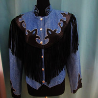 vintage denim and black leather fringe rockabilty western jacket. size L to XL. size 14. hipster denim jacket.