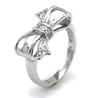 Sterling Silver Cubic Zirconia Infinity Bow Ring - Available Size: 4, 4.5, 5, 5.5, 6, 6.5, 7, 7.5, 8, 8.5, 9, 9.5, 10