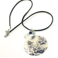 Black and White Capiz Shell Necklace on Black cord.