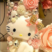 3D Cute Kitty Bling For DIY Cell Phone iPhone 4 4s 5 5g Case Deco Den Kit