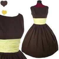 Vintage 50s Brown YELLOW Cotton Prom PARTY Day Dress XS XXS Rockabilly PINUP VLV | eBay