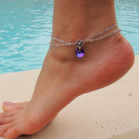 Double Chain Anklet with Swarovski Crystal Heart by DeliBejeweled