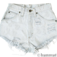 ALL SIZES &quot;PLAINO&quot; Vintage Levi high-waisted denim shorts light blue white distressed frayed jeans