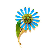 Vintage Enamel Flower Brooch Pin Blue Green Daisy 1970s