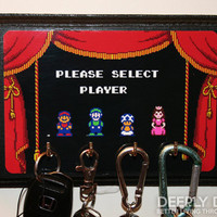 Super Mario Brothers Two Key Holder - Select Your Player - Mario Princess Peach Toad and Luigi