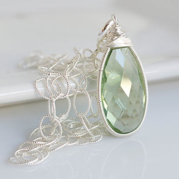Bezel Set Green Amethyst Quartz Pendant Necklace, Silver Necklace, Green Necklace, Sterling Silver Necklace