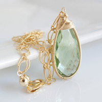 Green Amethyst Quartz Pendant Necklace, Bezel Set Necklace, Green Necklace, Bridal Necklace