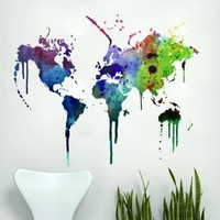 Watercolor world map decal, 189 x 152 cm | 74.4 x 59.8 in: Amazon.co.uk: Kitchen & Home