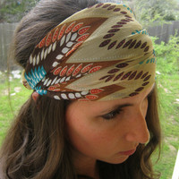 Boho Chiffon Headwrap - Aztec headband - turban hair wrap head covering head scarf head wrap (item no. HW3-39)