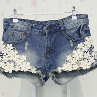 Denim Shorts with Floral Lace Design