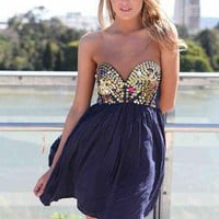 Navy Strapless Dress with Sequin&Jewel Embellished Top
