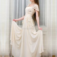 Find affordable A-line Square Chiffon Floor-length Pearl Pink Lace Evening Dress
