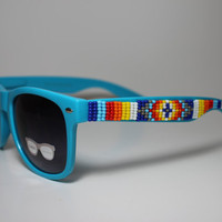 blue hand beaded tribal sunglasses