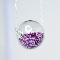 Purple glitter hand blown glass ball sterling silver by thestudio8