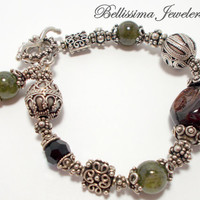 Sophisticated Silver and Garnet Natural Stone Beaded Bracelet -  Chunky, Enduring, Elite Bracelet by Bellissima