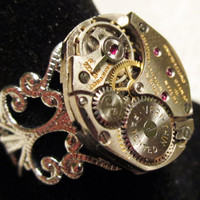 Steampunk ring watch movement vintage gruen by InsomniaStudios