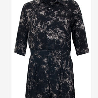 Motel Jesse Button Up Playsuit in Black Smoke Print