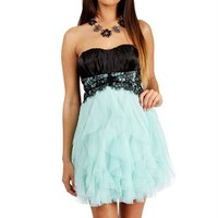 Black/Mint Lace Homecoming Dress