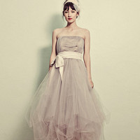 Strapless Tea Length Tulle Formal Dress