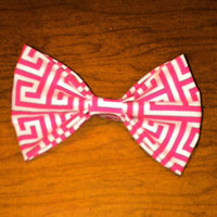 Pink Greek Key Hair Bow by ShortsNBowsNSuch on Etsy