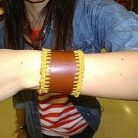 leather and crochet  wrist band bangle brown