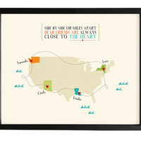 Long distance friendship or family quote map 8x10 in personalized