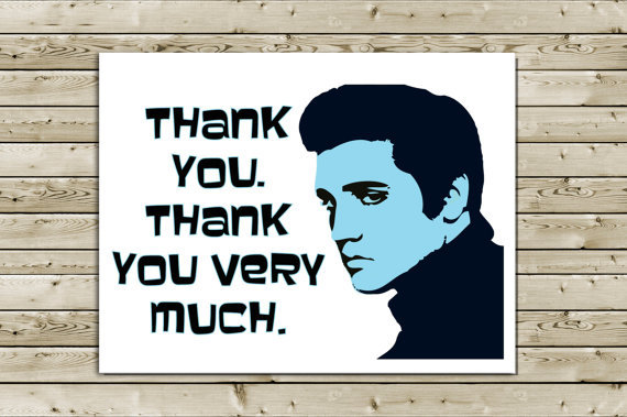 Funny Elvis Thank You Greeting Card -- from aLouCreations on Etsy
