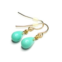 Simple delicate dainty mint teardrop dangle earring - gold plated wire glass mint bead celebrity inspired spring 2013