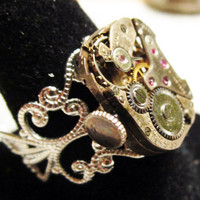 Steampunk ring vintage watch movement Colomby by InsomniaStudios