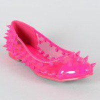 Dynamo Lucite Neon Studded Spike Ballet Flat