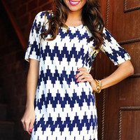 Put Me Back Together Dress: Navy/Ivory | Hope's