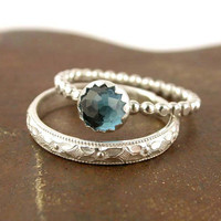 Gemstone Stacking Ring Set - 2 Rings - Sterling Silver