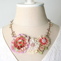 Colorful Spring Flower Necklace, Pink Fabric Flower Necklace, Bride Statement Necklace, Mothers Day Gift