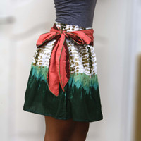 Emerald Green Mini Skirt with Coral Sash - FREE SHIPPING