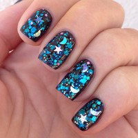 Nail polish  Falling Skies stars and moons with by EmilydeMolly