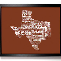 Cities Of Texas State Typography Collage, 8 x 10 Giclee Art Print Dallas Austin Houston El Paso Lubbock
