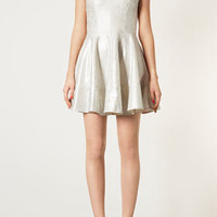 Foil Bonded Lace Skater Dress - Dresses  - Clothing