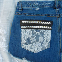 OOAK dipped, laced & studded tumblr inspired hipster shorts