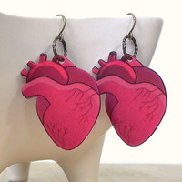 Handmade Anatomical Heart Earrings