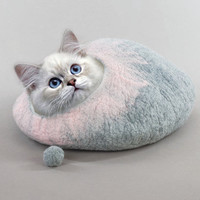 Cat Bed Cave House hand Felted Wool Grey and Pink with FREE Cat Ball
