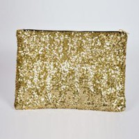 Gold Sequin Clutch with Animal Print Interior