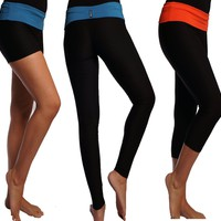 Performance Dry Fit Fitness Yoga Workout Cycling Fold Over Pants Leggings Capris Shorts