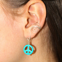 Pair of Silver Plated Ear Cuffs with Peace sign beads