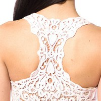 Lace Back Racerback Tank Top - Pink - Lucky 21