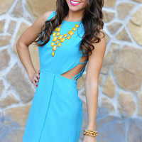 Falling Into Place Dress: Caribbean Blue | Hope's