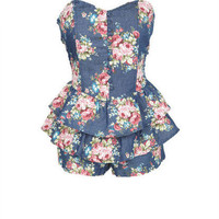 Floral Tiered Strapless Romper