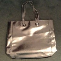 Silver Metallic Clinique Tote Bag Brand New
